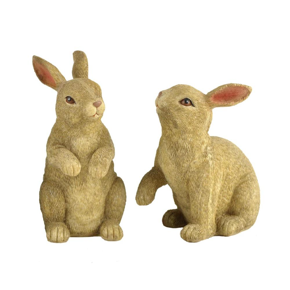 S/2 Traditional Popular Design Resin Rabbit Statues Bunny Figurine