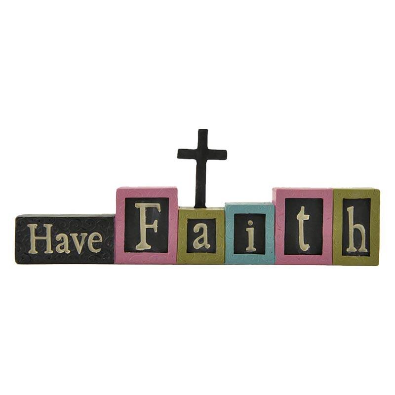 Resin wording - Have Faith figurine statue for home decor