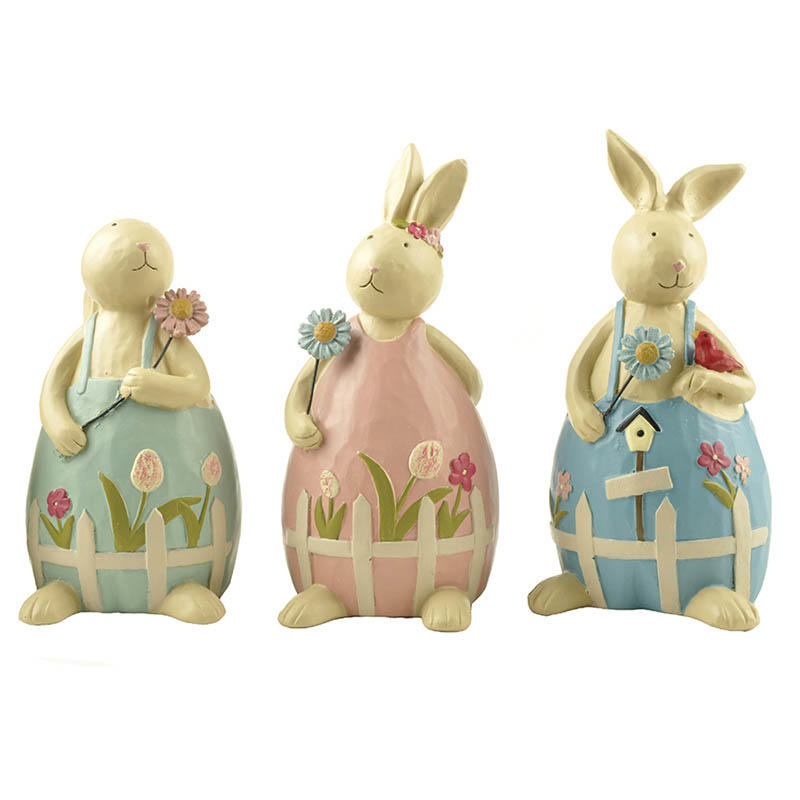 S/3 High Quality Wholesale Resin Rabbit Spring Figurine Bunny Statue