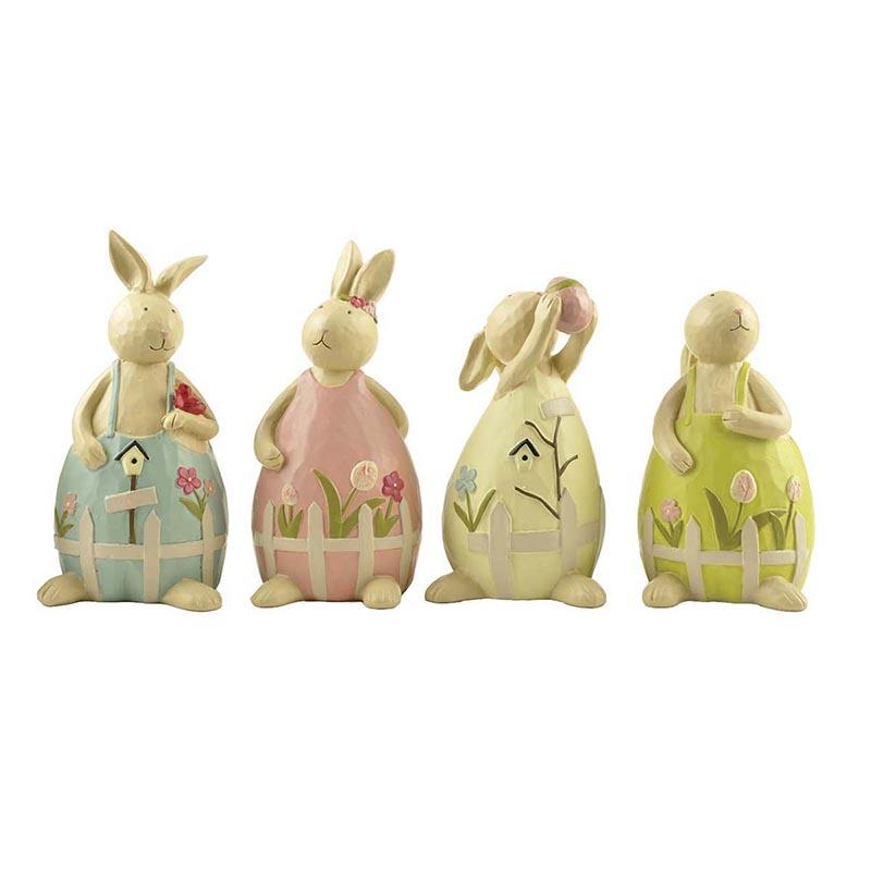 Hot Sale Factory Supply Resin Rabbit Figurine Garden Decor Bunny Easter Statue with Bird and Egg
