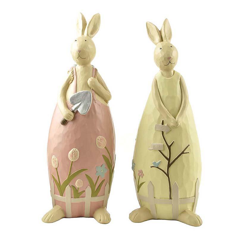 Popular Spring Resin Bunny Couples Figurine for Garden Decoration