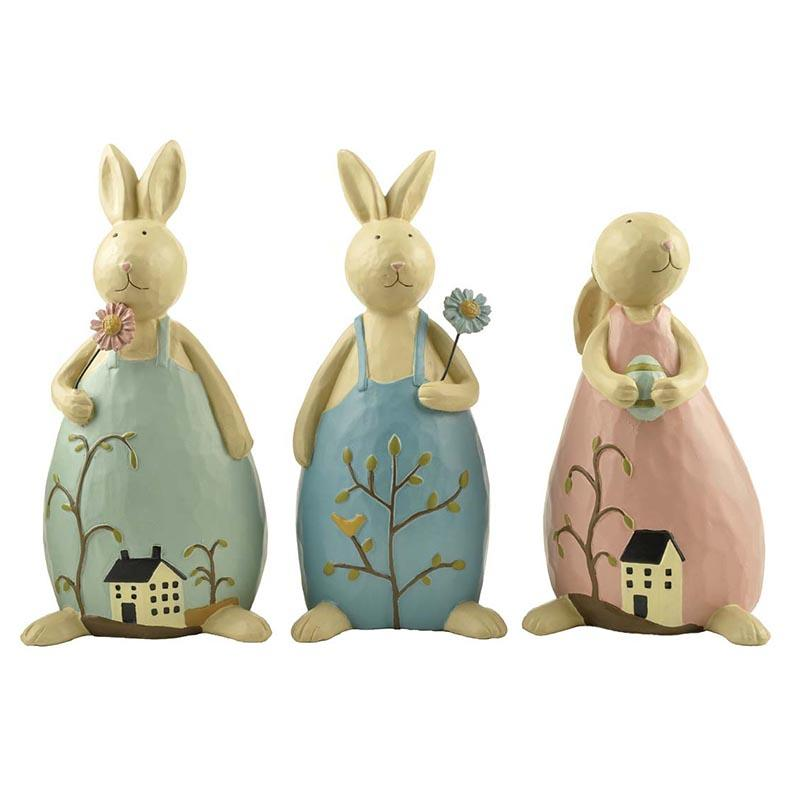 Wood-carved Resin Rabbit Sculpture Garden Decor Bunny Easter Figurine with Flower and Egg