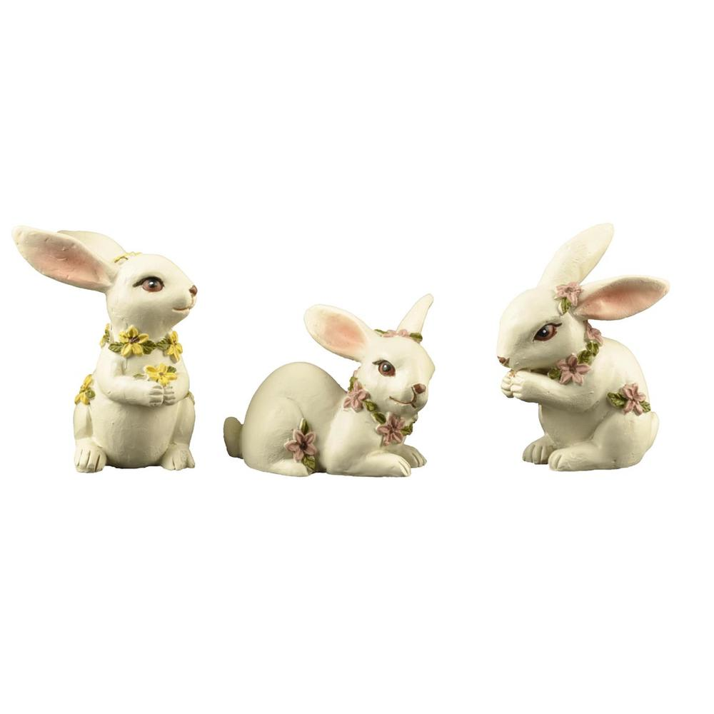 Holiday Garden Resin Figurines Long Ear Easter Gift Rabbit with Wildflowers