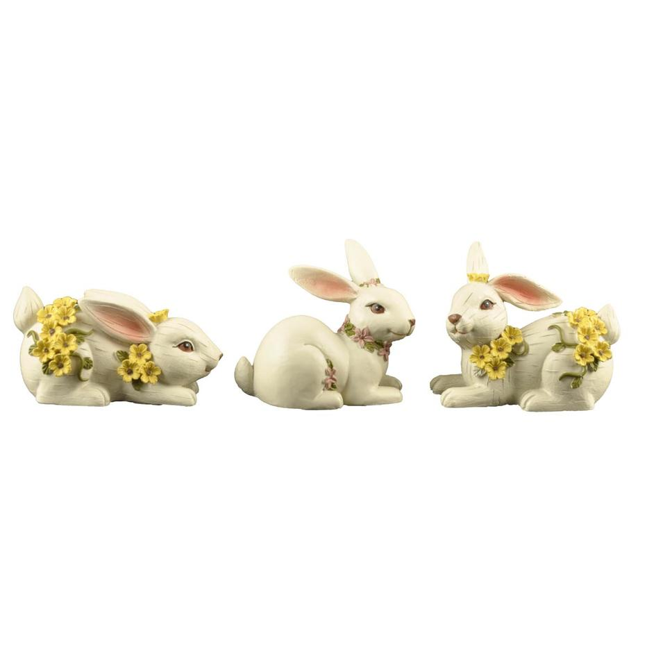 Wood-like Finish Resin Garden Decoration Easter Rabbit Statue