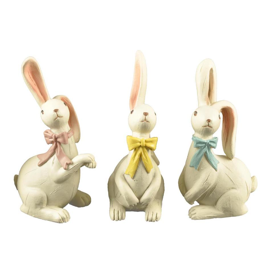 S/3 Custom Decorative White Resin Rabbit Figurine with Long Ears
