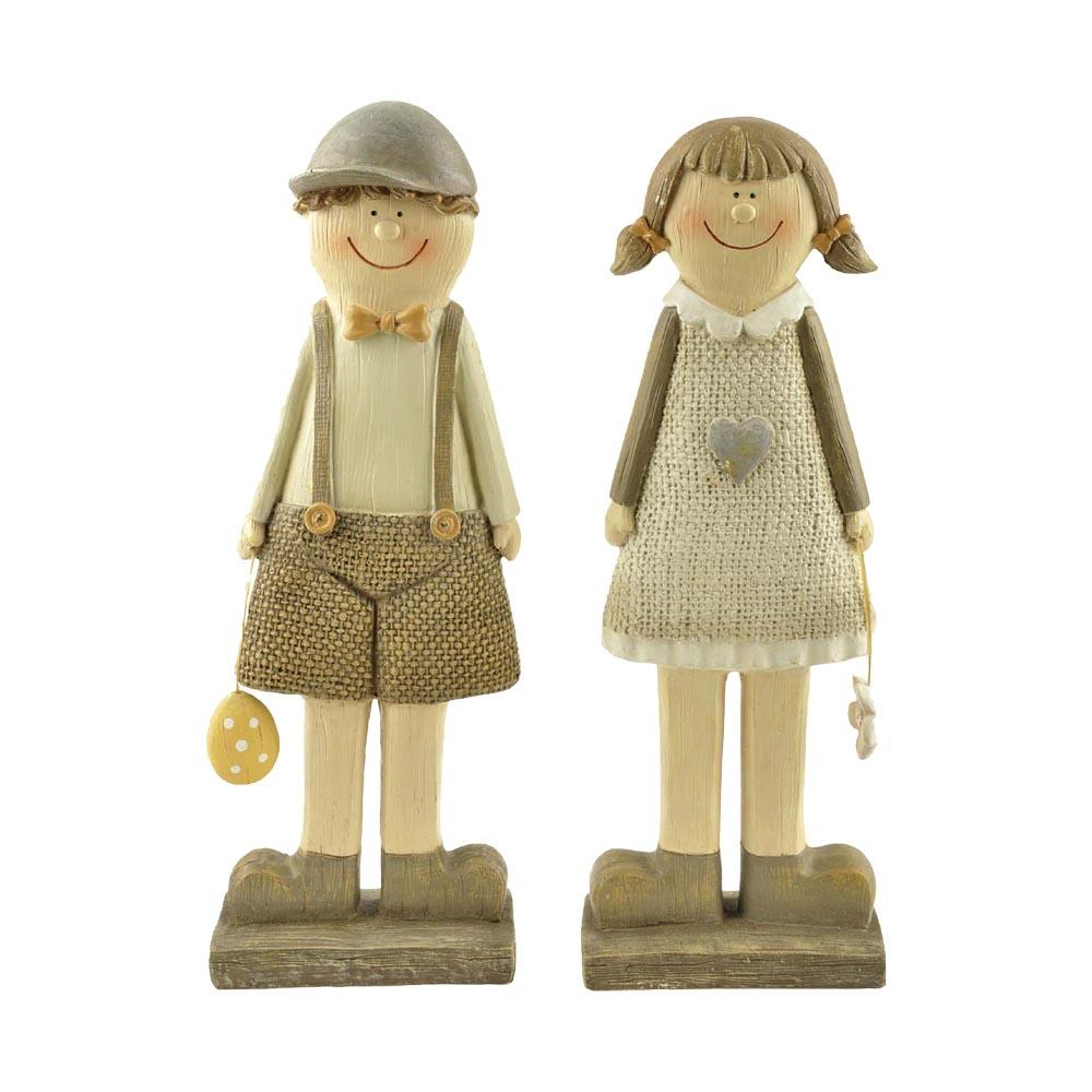 Hot Sale Creative European Country Style Easter Couple Statues Resin Boy & Girl PH15285