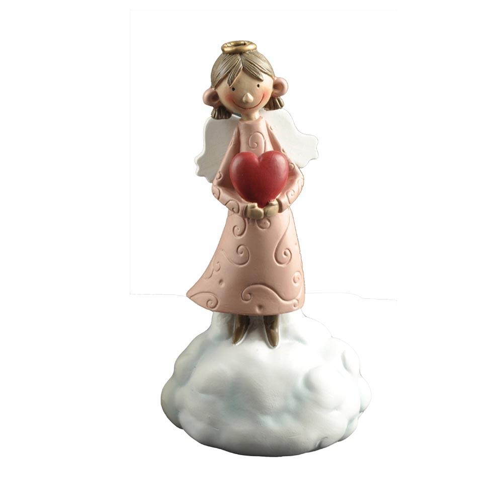 Hot Sale Unique Resin Decorative Holding Heart Little Angel Figurine on the Cloud PH15487