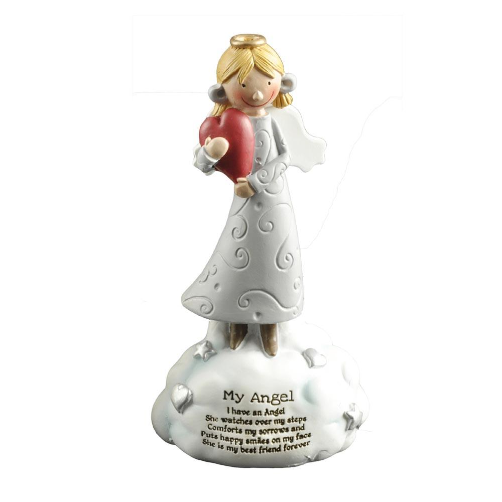 Hot Sale Customized Holding Heart Resin Decorative Angel Figurines on Cloud PH15486
