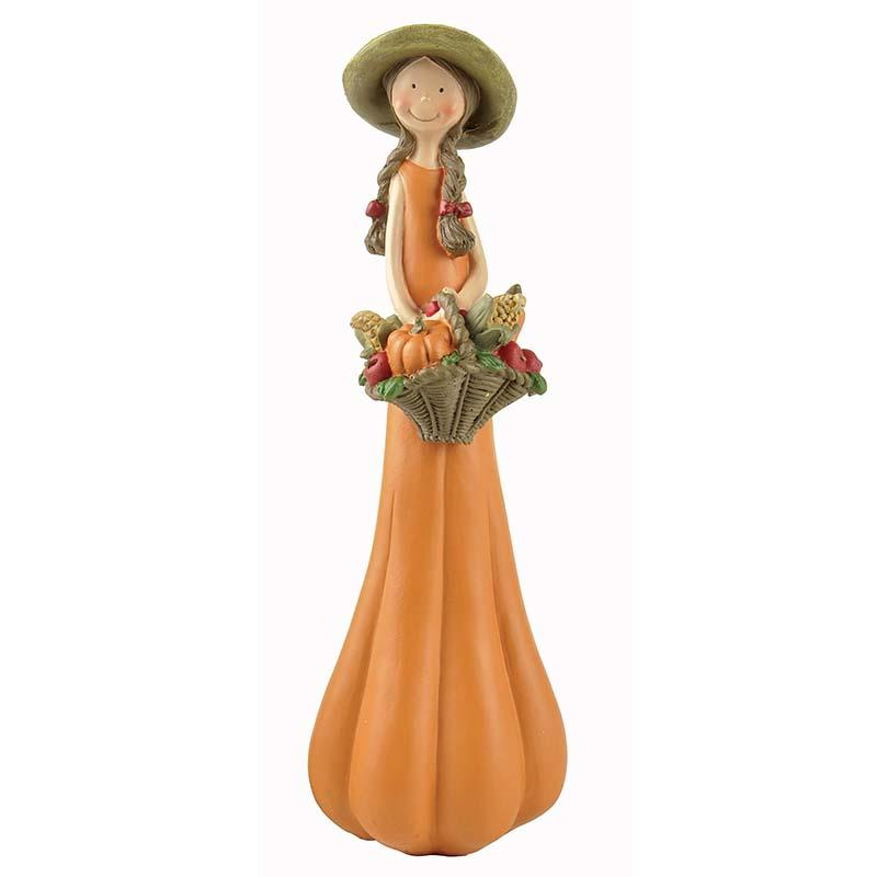 2020 Holloween New Design Pumpkin Girl Statues Angel Figurine with Basket PH15139