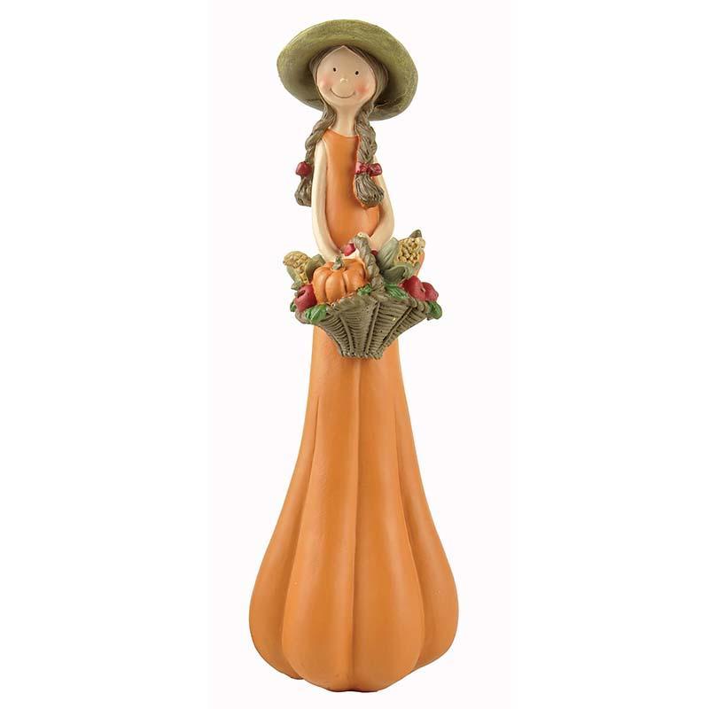 2020 Holloween New Design Pumpkin Girl Statues Angel Figurine with Basket PH15139