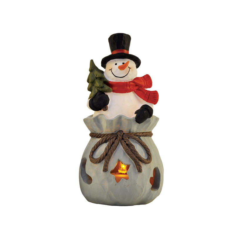 2020 New Design Christmas Decoration Snowman Figurine with LED Light PH15021