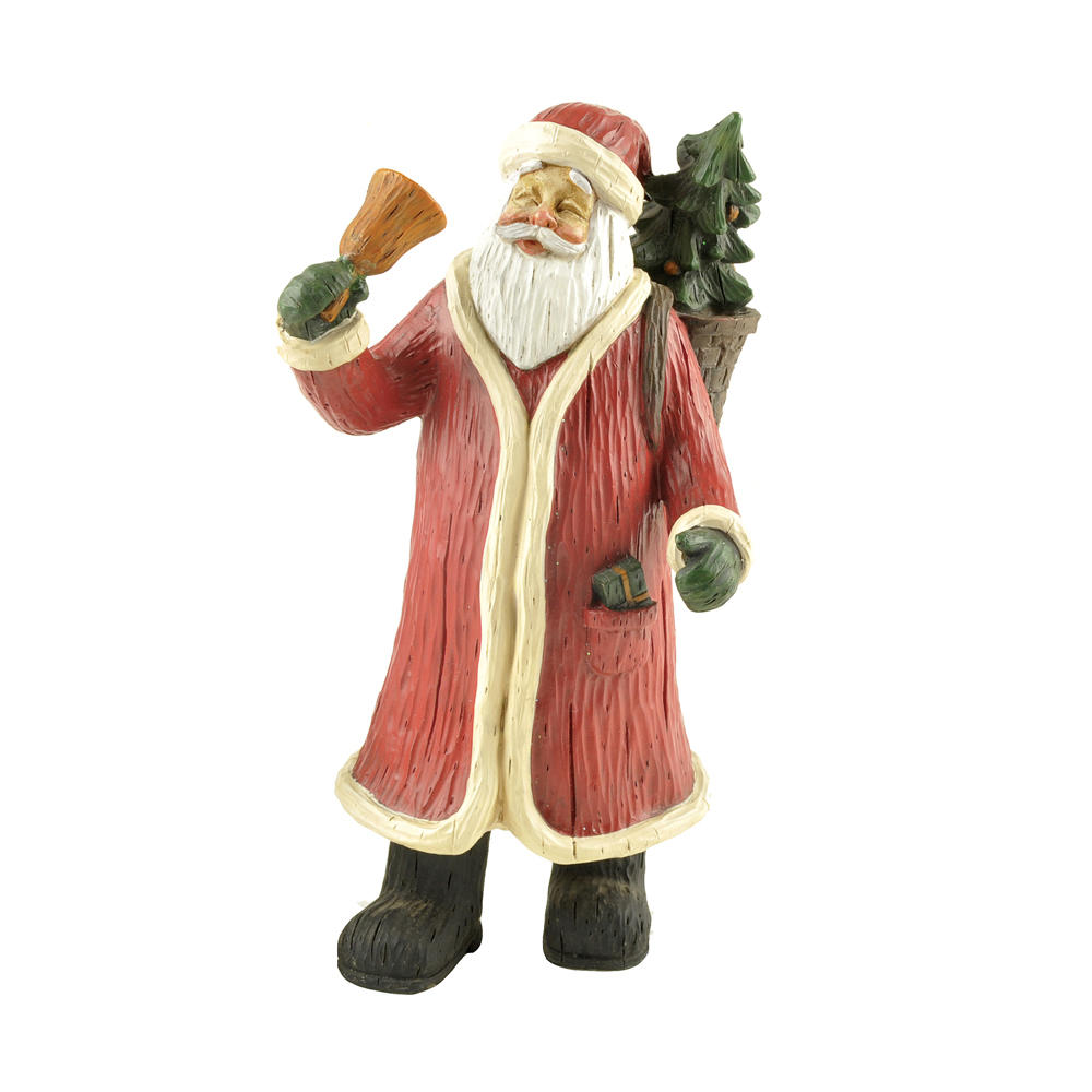 Handmade Resin Craft Santa Claus with Christmas Tree and Bell Christmas Decoration PH15157