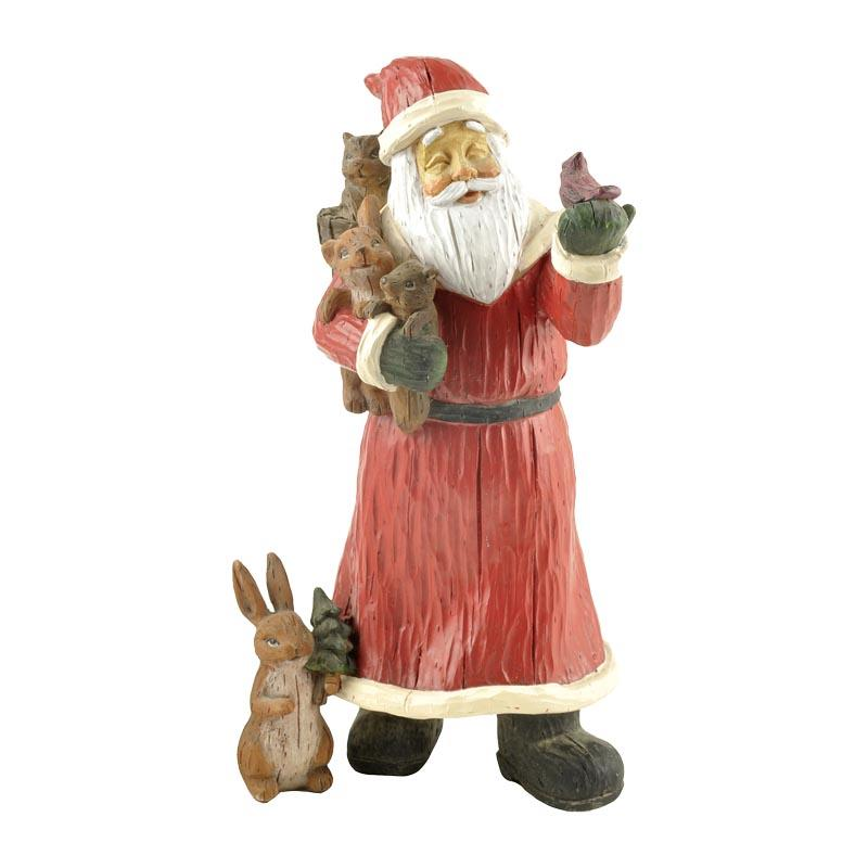 Polyresin Decoration Santa Figurine Statue With Animals Christmas Craft Gift PH15159