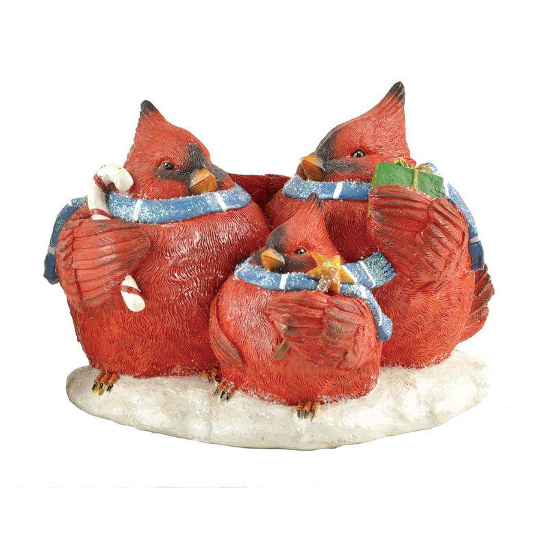 Wholesale Creative Polyresin Red Bird Family Statue on Snow Base PH15173