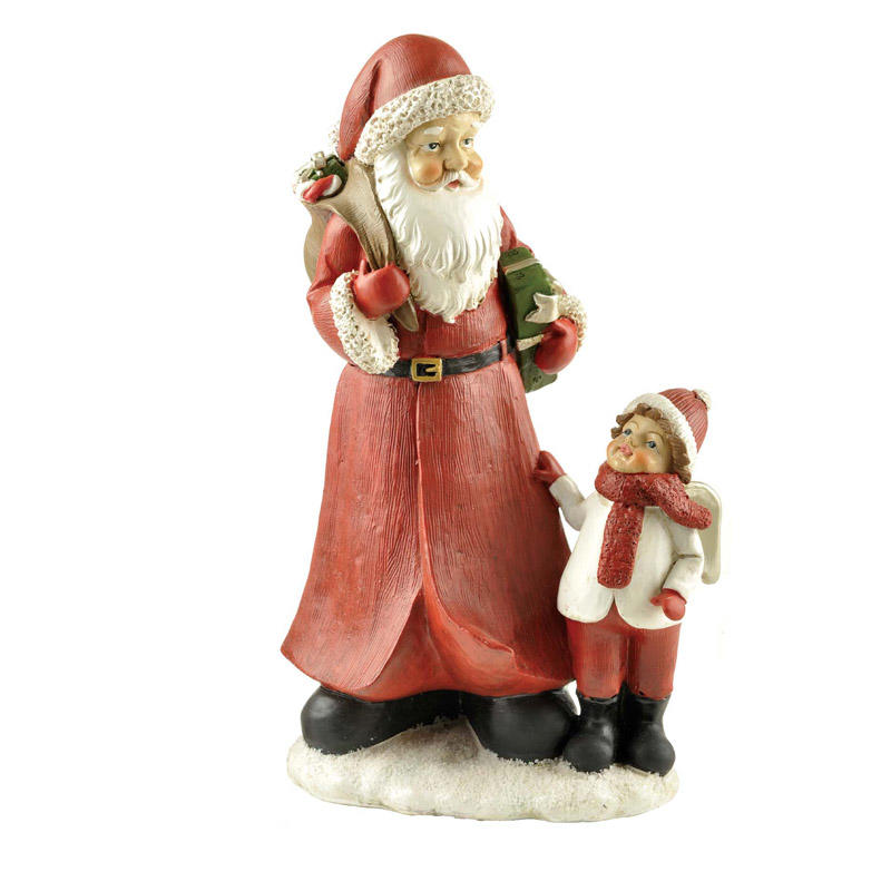 Hot Sale Resin Craft Santa Claus with Boy Indoor Christmas Decoration PH15031