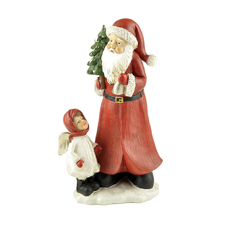 Hot Sale Resin Craft Santa Clause with Girl Indoor Christmas Decoration PH15032