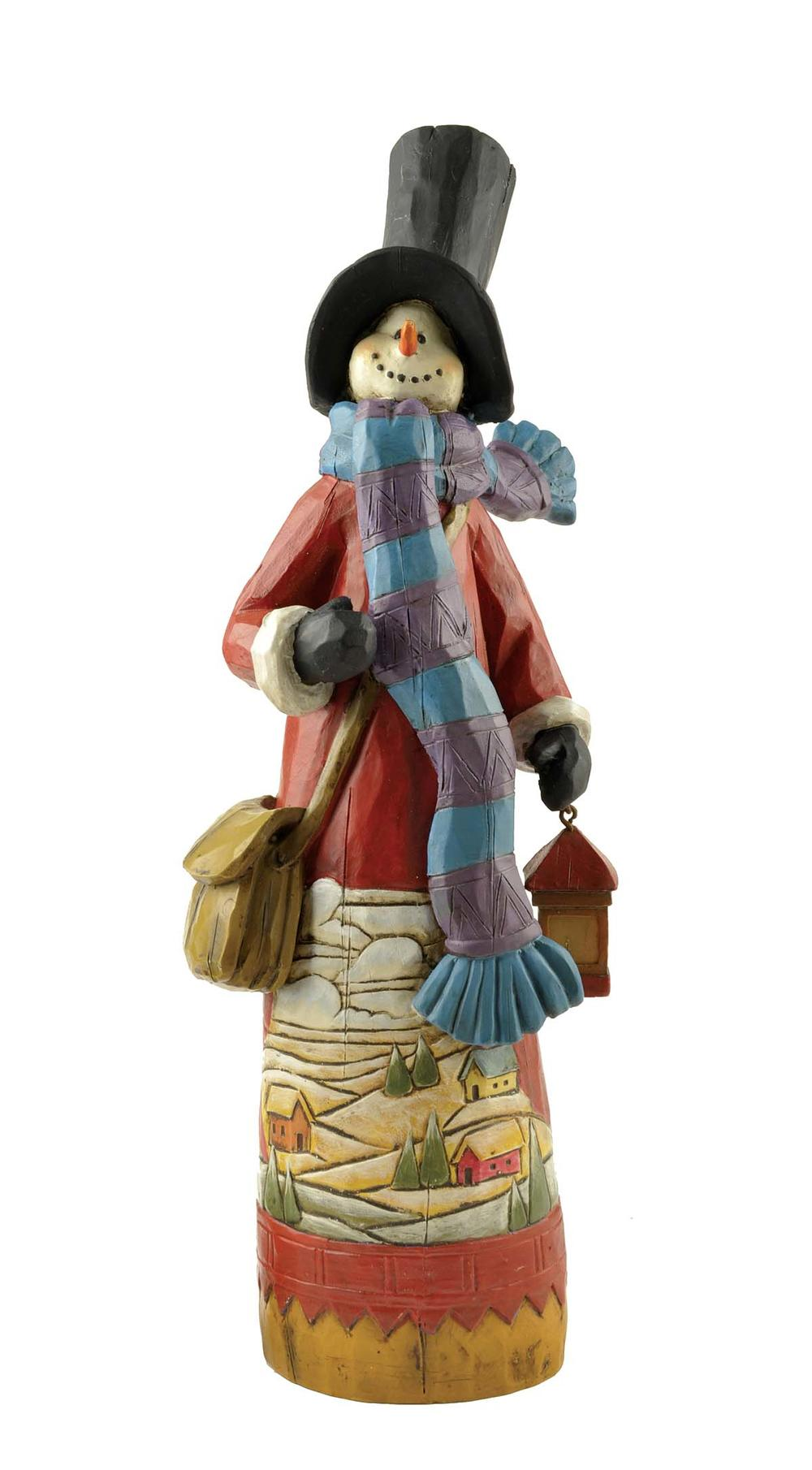 Best Selling Product Resin Christmas Decorative Snowman Figurine with Lantern PH15033