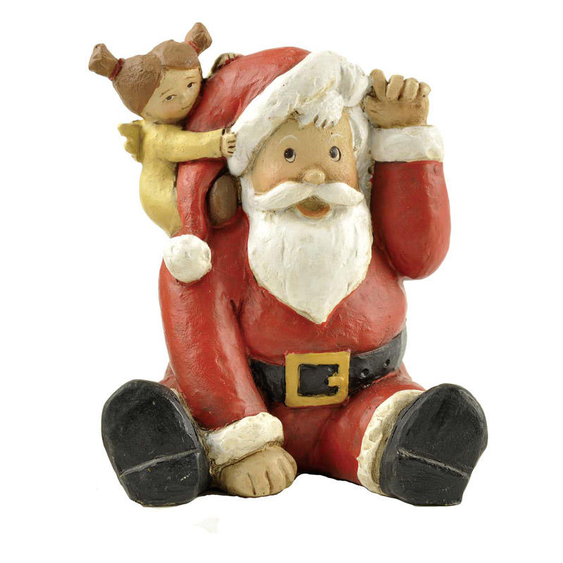 Factory Handmade Polyresin Sitting Santa with Little Girl