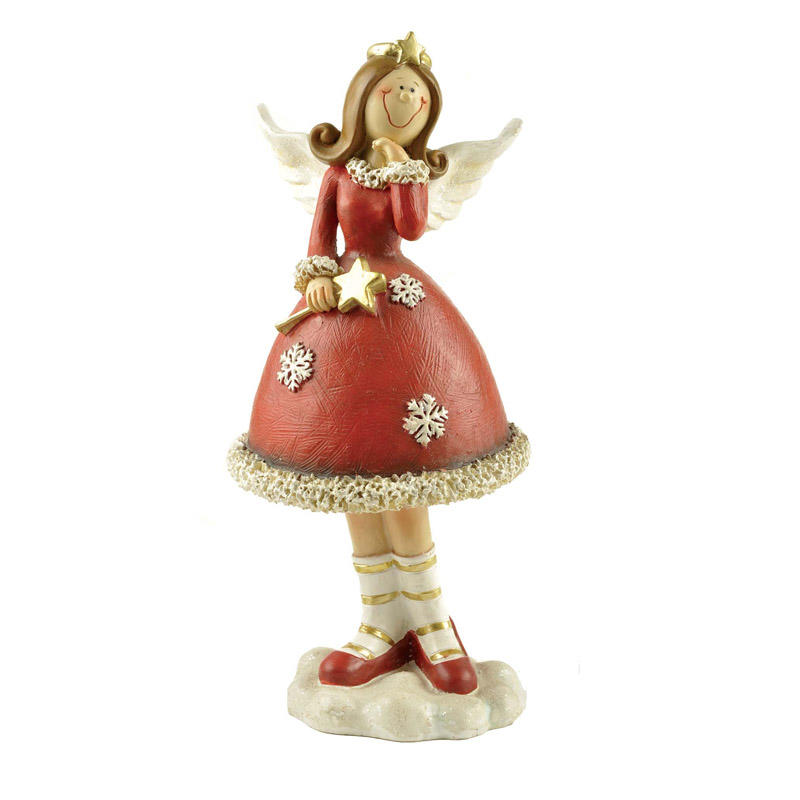 Figurine manufacturers Resin Crafts Cute Red Angel Statue with Star