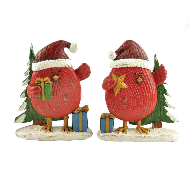 Factory Handmade S/2 Polyresin Red Bird with Gift & Star on Snow Base