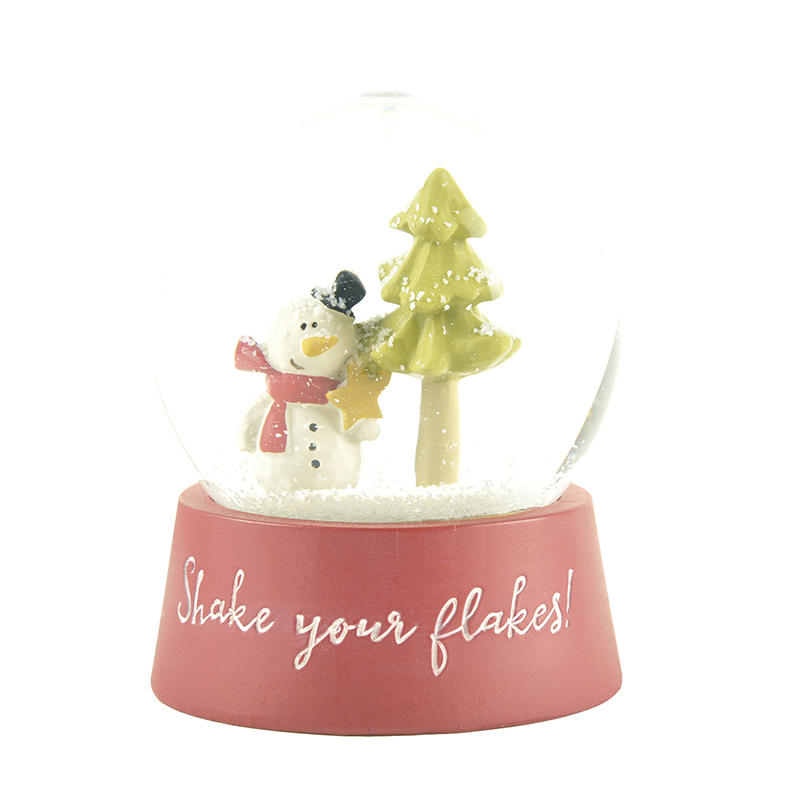 Wholesale Glass Snow globe Decoration with Resin Snowman & Christmas Tree inside