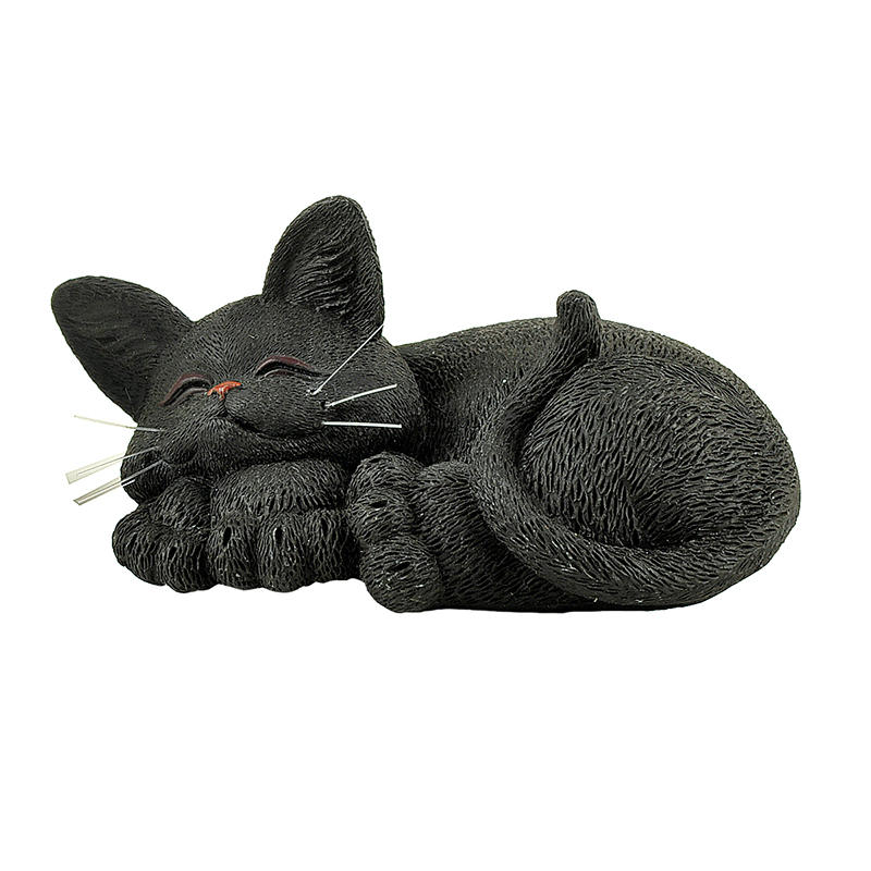 Hot Sale Cute Polyresin Sleeping Black Cat Decoration
