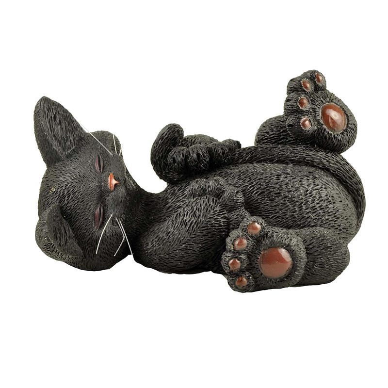 Cute Polyresin Supine Black Cat