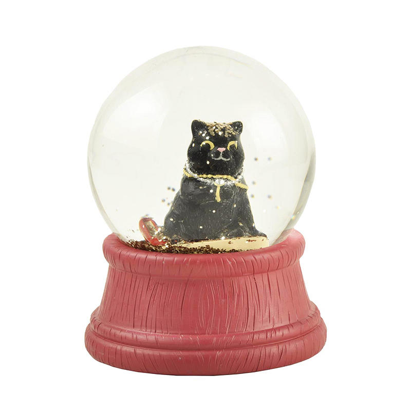 Wholesale Glass Snow globe with Polyresin Black Cat inside