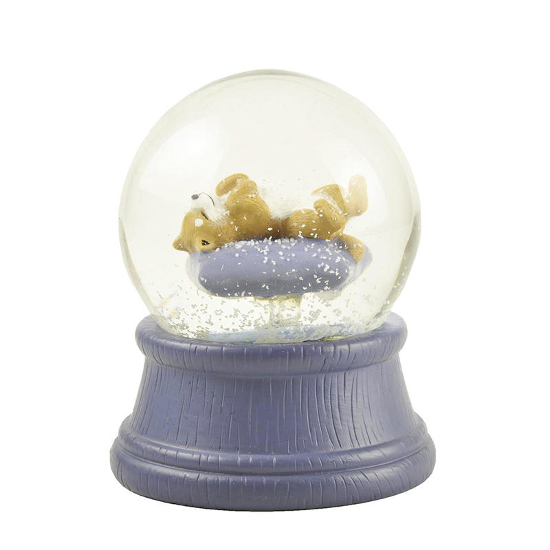 Hot Sale Glass Snow GLobe With Polyresin Nap Dog inside