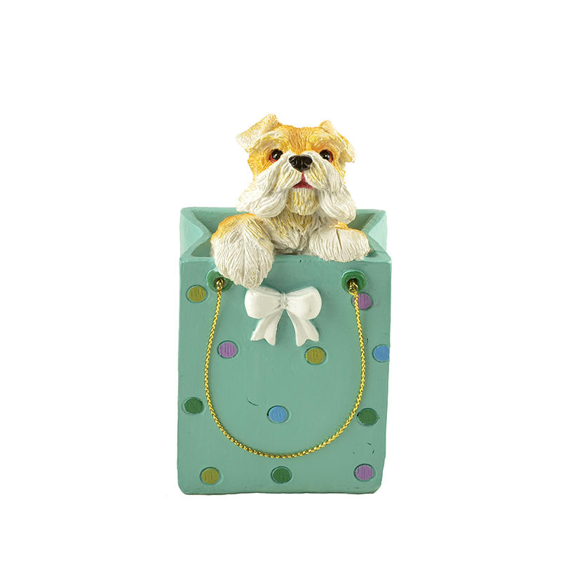 Wholesale Cute Polyresin Dog in Shopping Bag