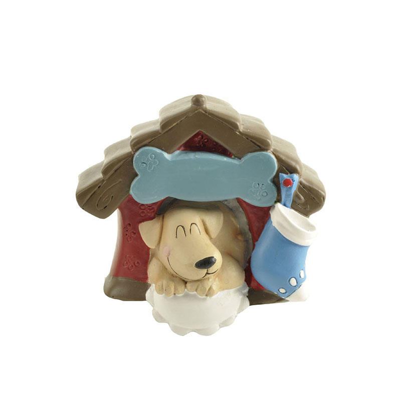 Factory Hot sale Handmade Cute Resin Dog in dog house decoration