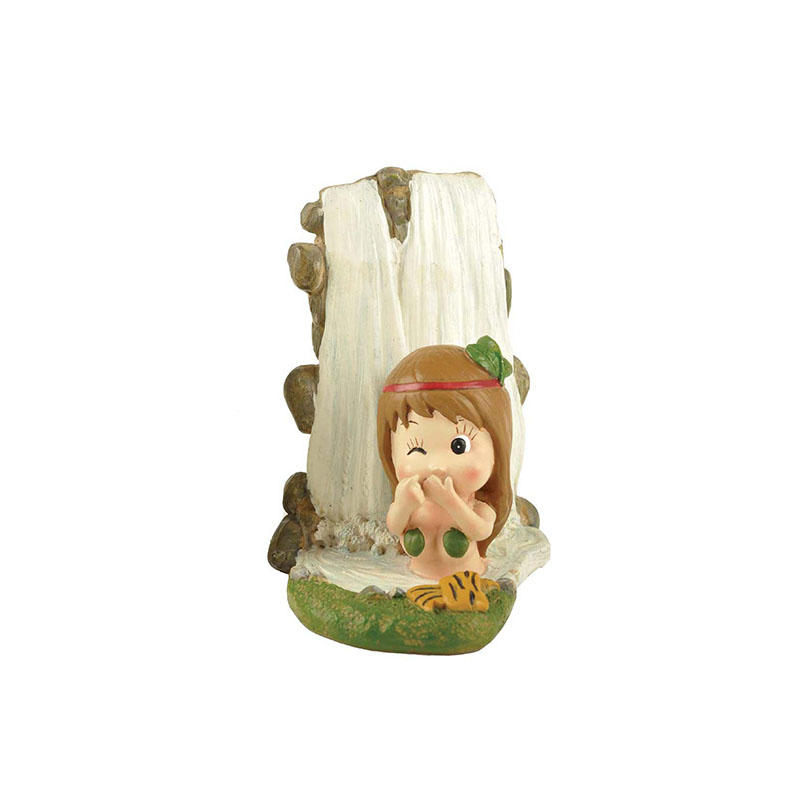 Figurine Manufacturers Resin Cute Baby Girl Statues Playing Before Waterfall Fairy Figure PH15111