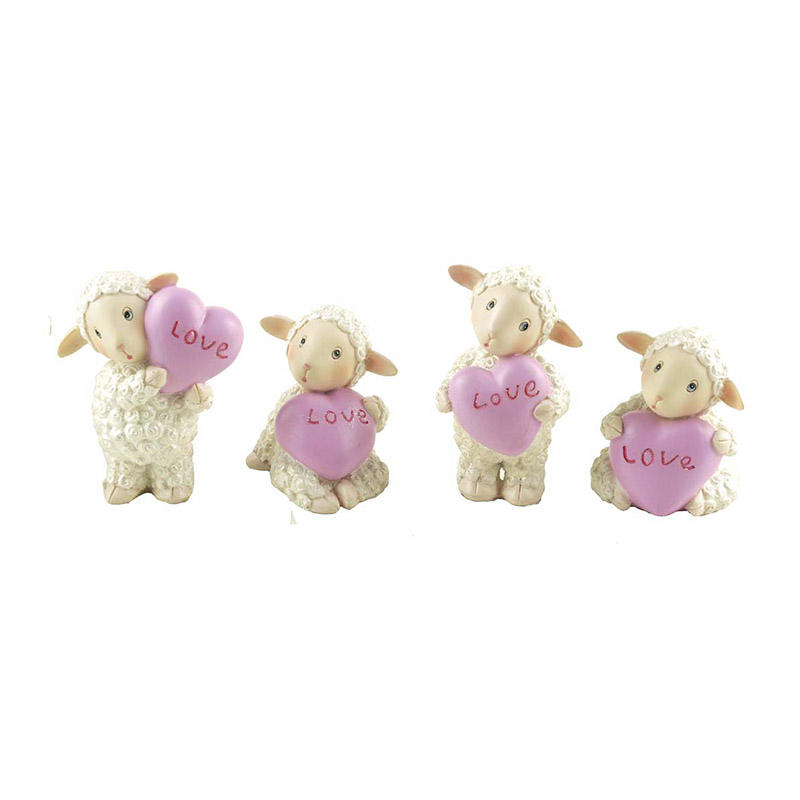 Wholesale Resin S/4 Small Sheep Statue with Love Animal Figure for Home Decor