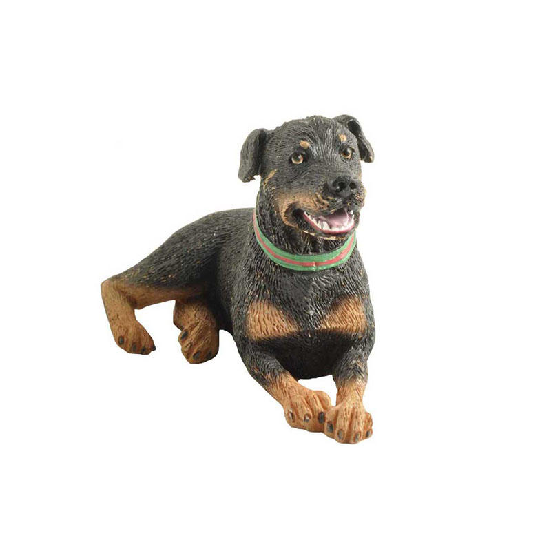 Custom Resin Sitting Black Dog Ornament Handmade Animal Statues Dog Garden Sculpture
