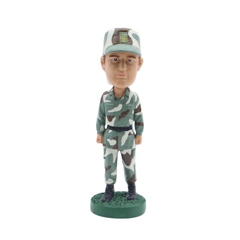 Polyresin Soldier Figurine Custom Bobble Head OEM Character Crafts
