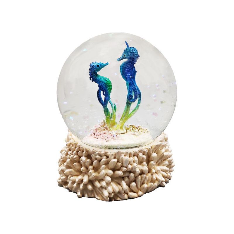 Hotsales Blue Couple Seahorse Snow Globe Sea Animal Figurine Resin Crafts