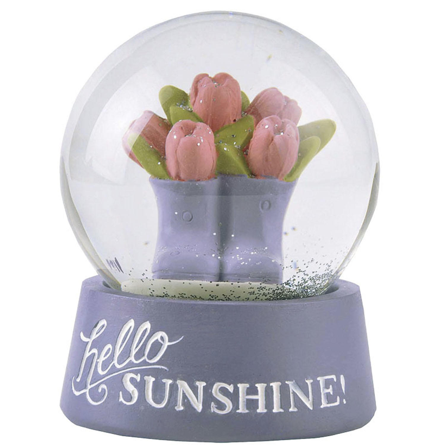 Amazon Hot Sale Flowers in the Boots Glass Snow Globe on Sunshine Base Statues 211-12940