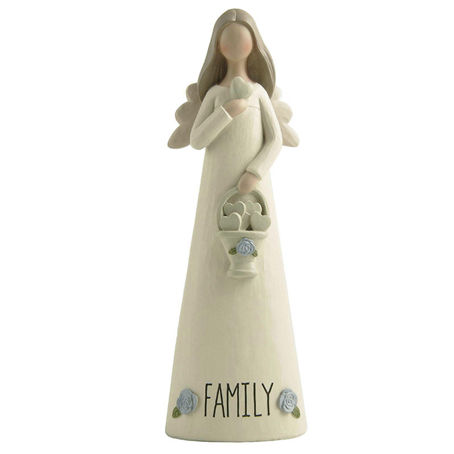 """Hot Sale H 7.28"""" 'FAMILY' Cream Color Resin Angel with heart and Little Blue Flowers 2166-13278"""