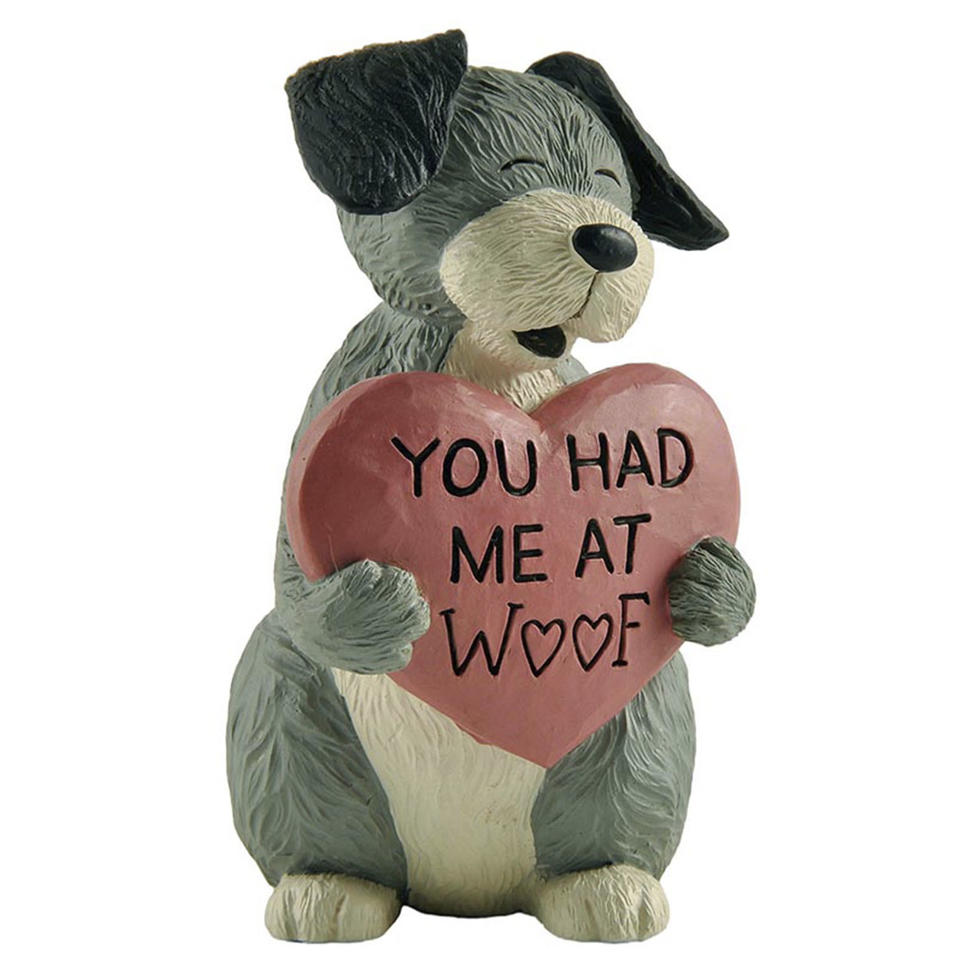 """Amazon 3.54"""" H Cute Dog Holding A Pink 'YOU HAD ME AT WOOF' Resin Craft Home Décor 2166-13327"""