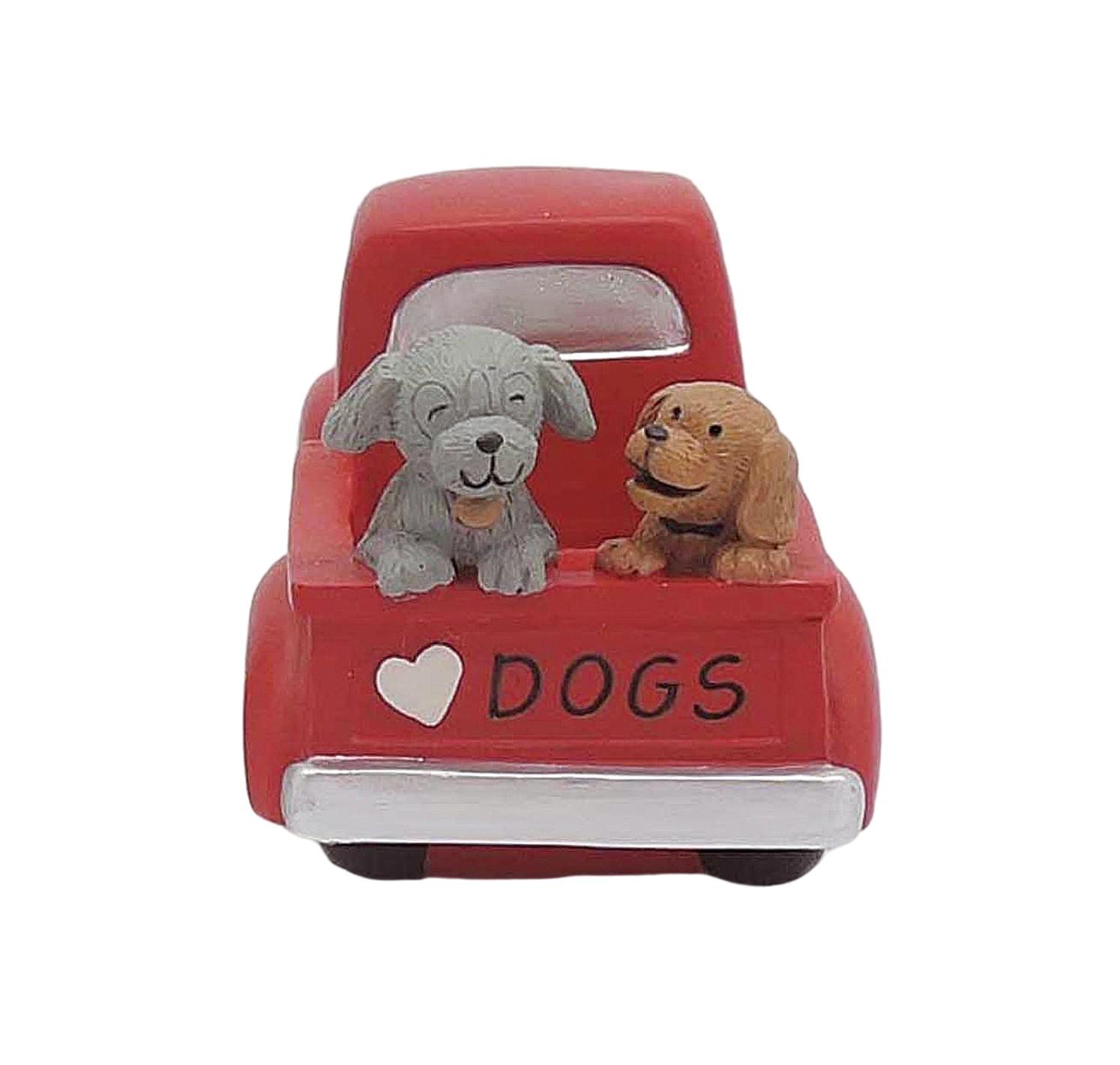Hot Sale Two Lovely Dogs On The Back of Red 'DOGS' Pickup Truck Resin Decoration 2166-13336