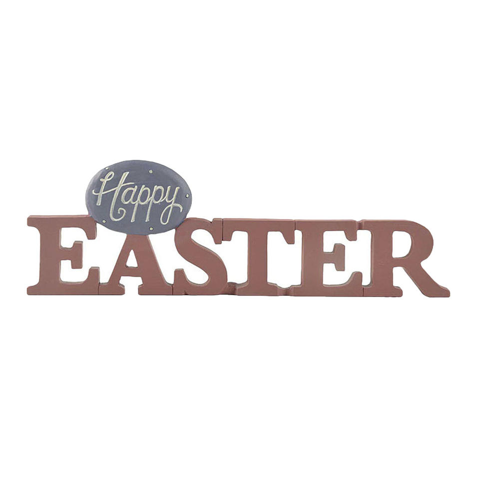 Hot Sell Hand-Painted Happy Egg on Easter Plaque New Design Pink Resin Crafts for Home Decor 211-12930