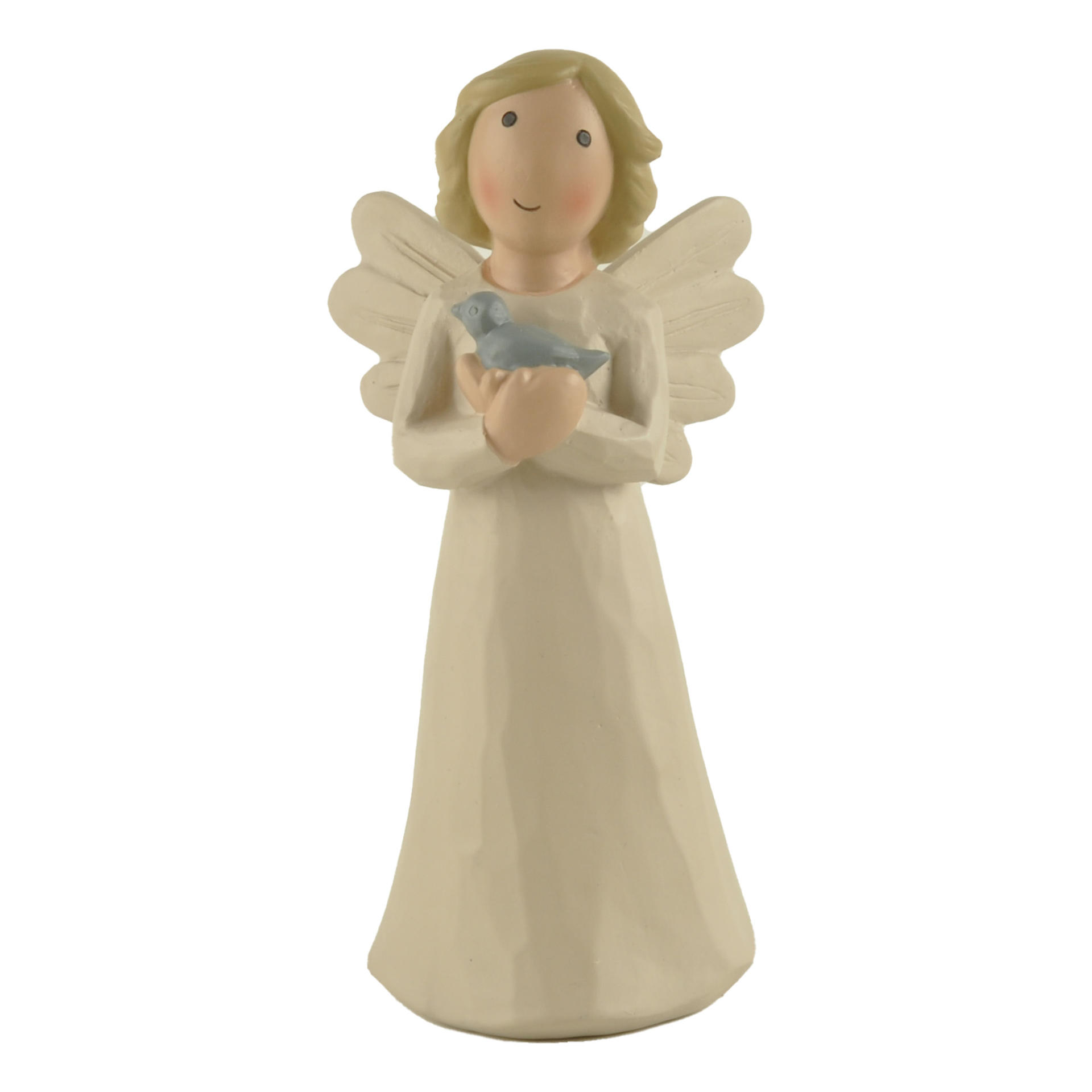 """Hot sales Cute Angel with Tiny Bird New Design Custom Cream Angel Statue for Home Decoration H 5.87"""" PH15814"""