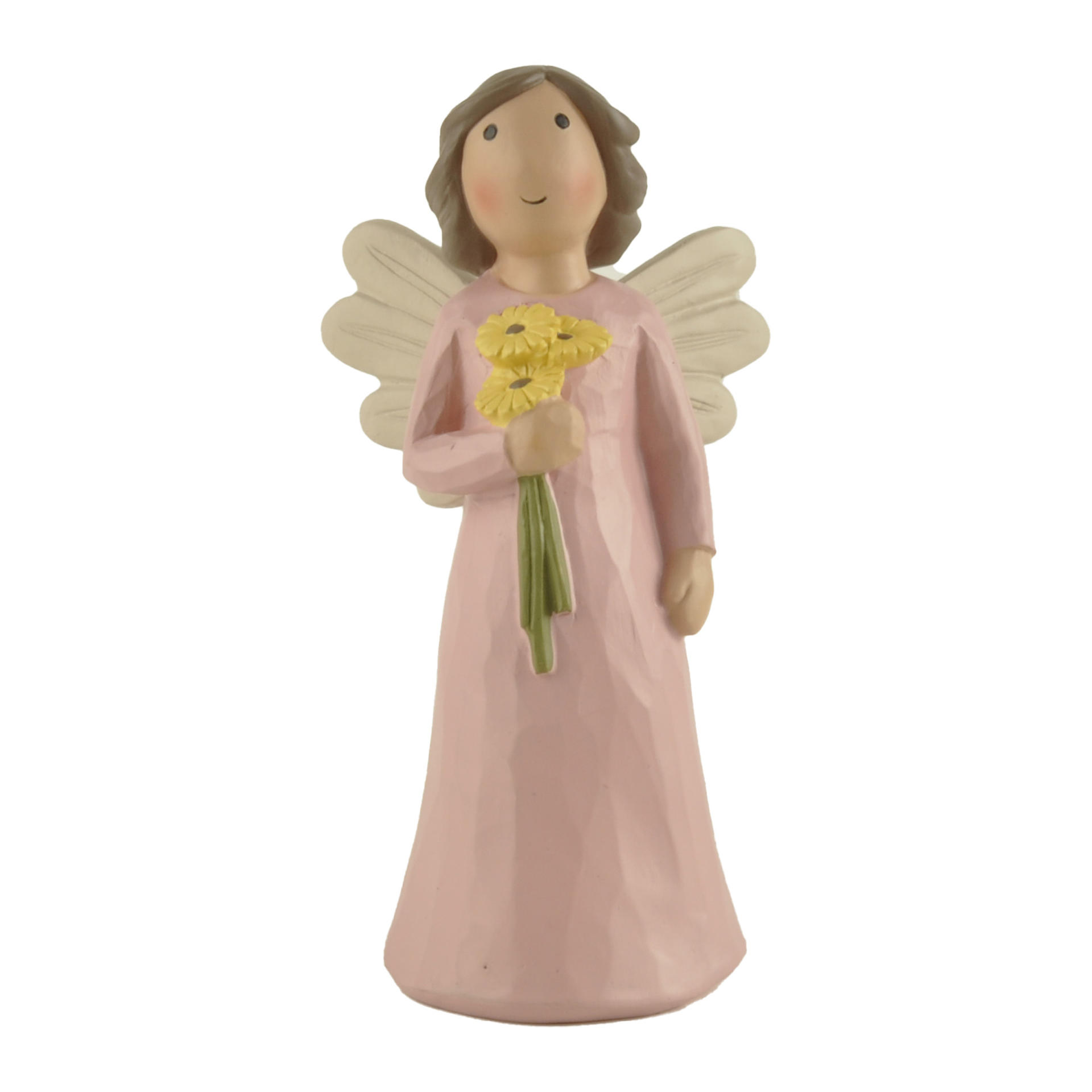 """Custom Hand-Painted Angel with Yellow Flower New Design Cute Pink Angel Statue for Table Decor H 5.87"""" PH15815"""