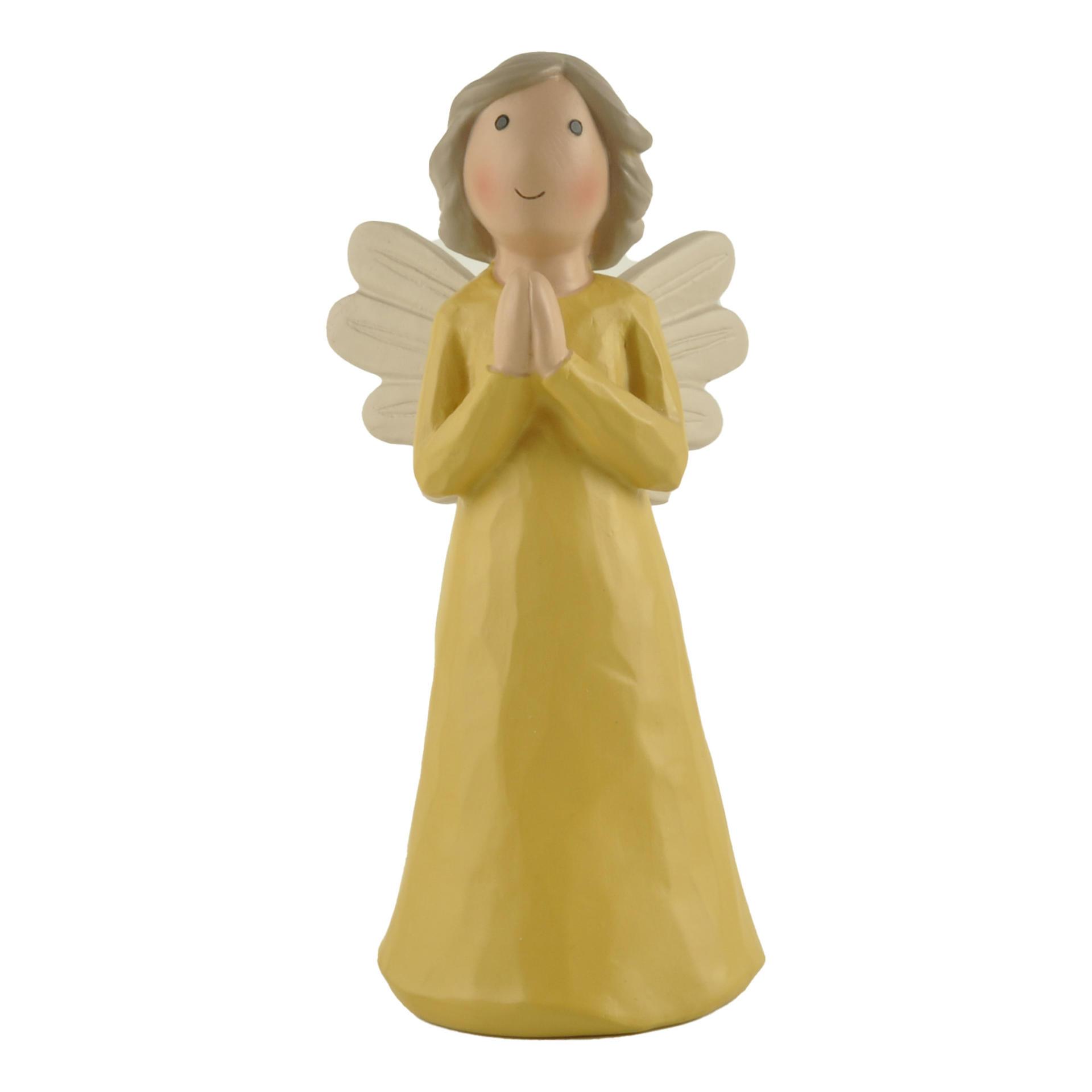 New Design Cute Resin Prayer Angel in Yellow Dress PH 15187