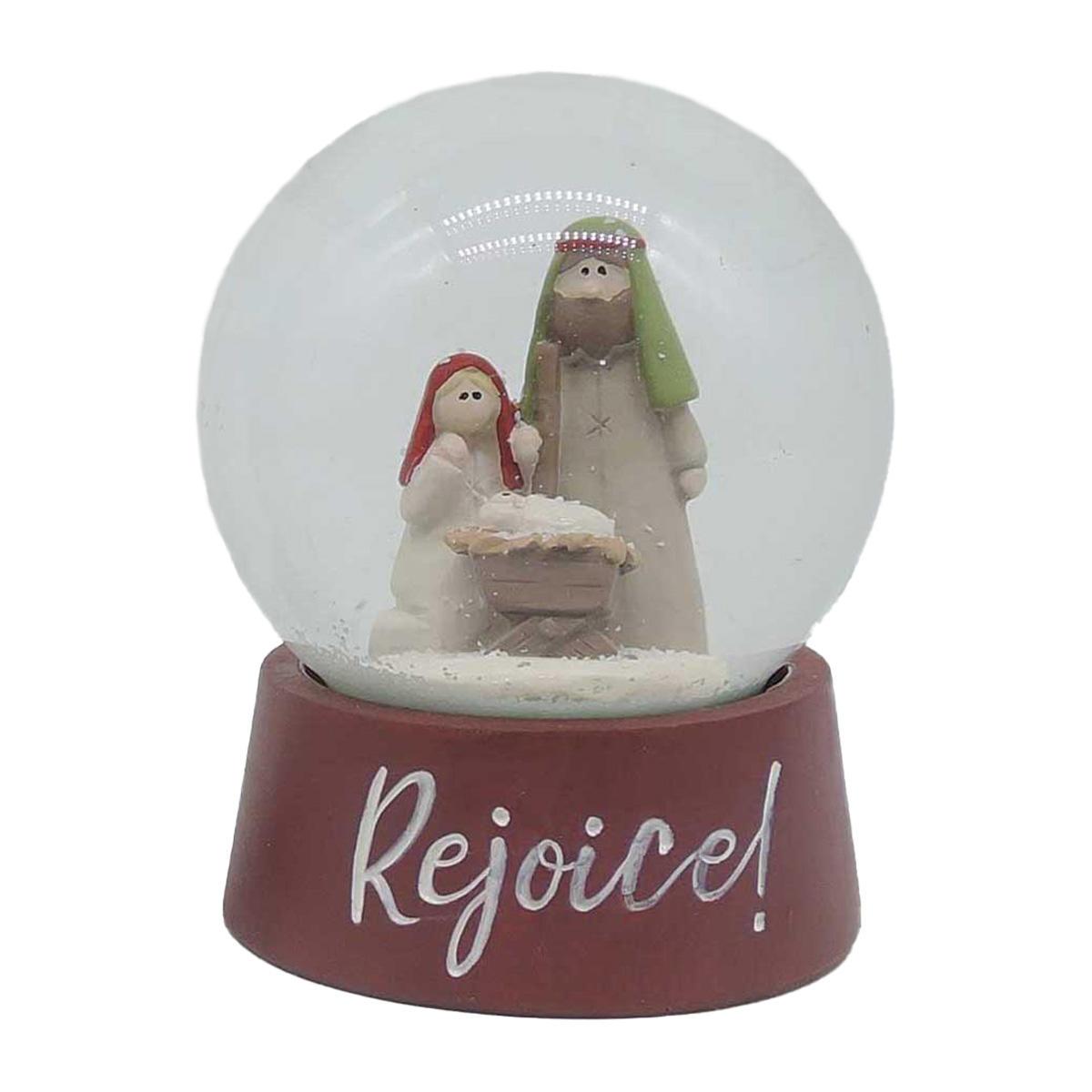 'Rejoice' Holy Mary Red Mini Nativity Snow Globe 208-12890