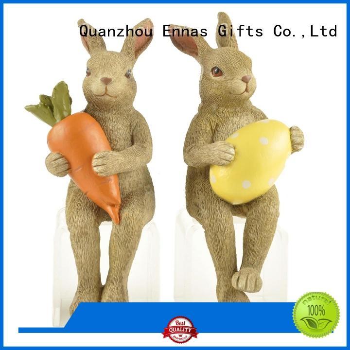 Ennas decorative easter rabbit figurines polyresin home decor