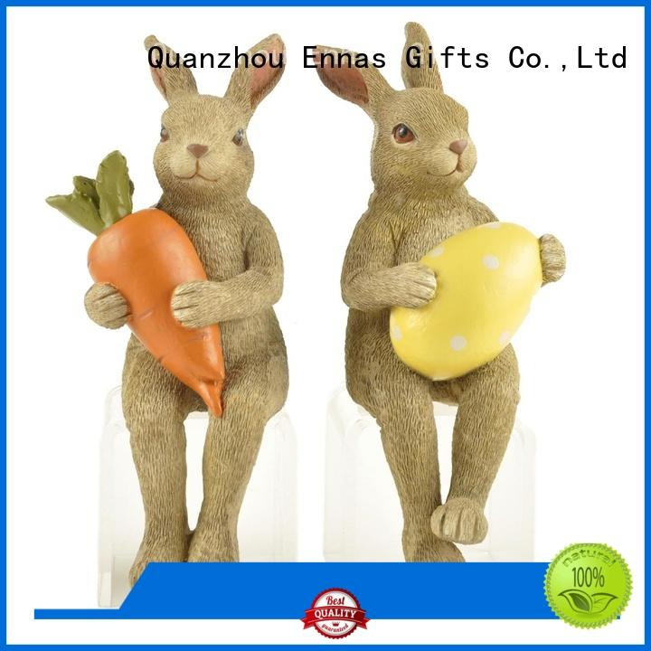 Ennas decorative easter rabbit figurines polyresin home decor